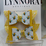 Bee Glittered Piggy Bows