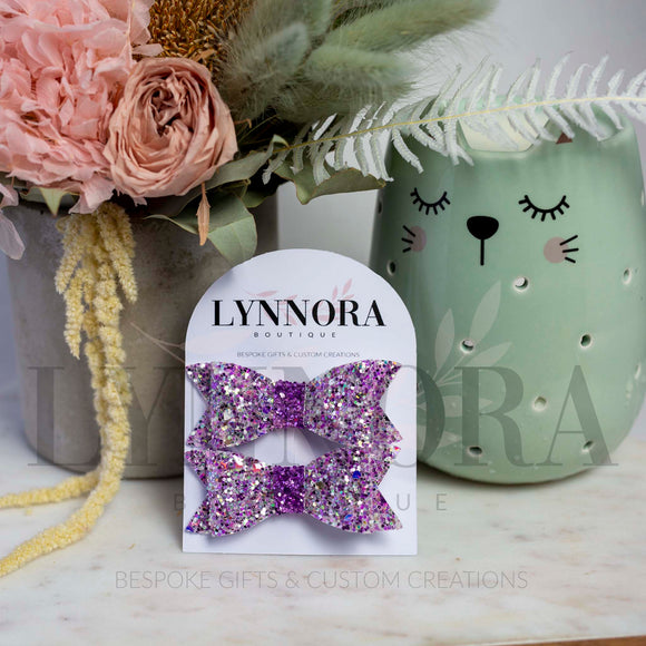 Korra Piggy Bows - Purple Glitter