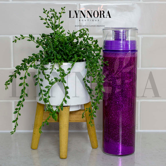 Purple Glitter Shaker Personalised Drink Bottle
