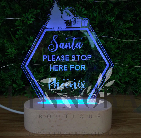 Santa Please Stop Here Colour Changing Night Light