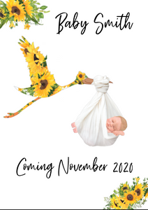 Sunflower Baby Announcement print