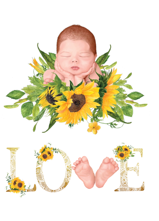 LOVE Baby Sunflower Print