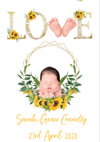 Sunflower Baby Arrival Announcement print