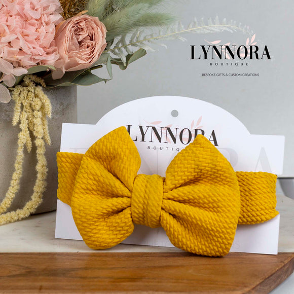Fabric Bow Headband Sunshine