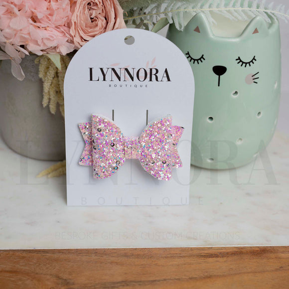 Pink Chunky Glitter Aria Bow