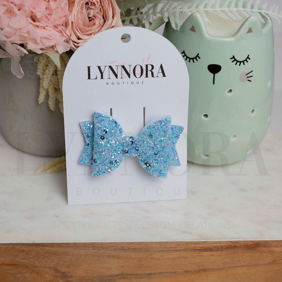 Light Blue Chunky Glitter Aria Bow
