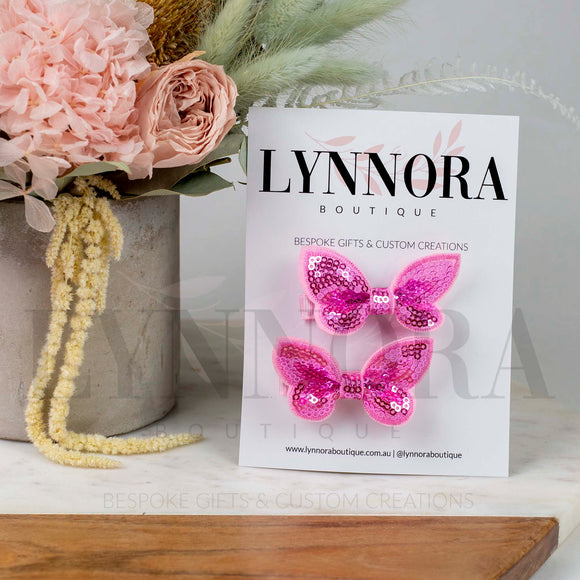 Pink Sequin Butterfly Clip Set