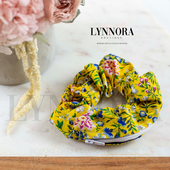 Floral Print Pocket Scrunchies