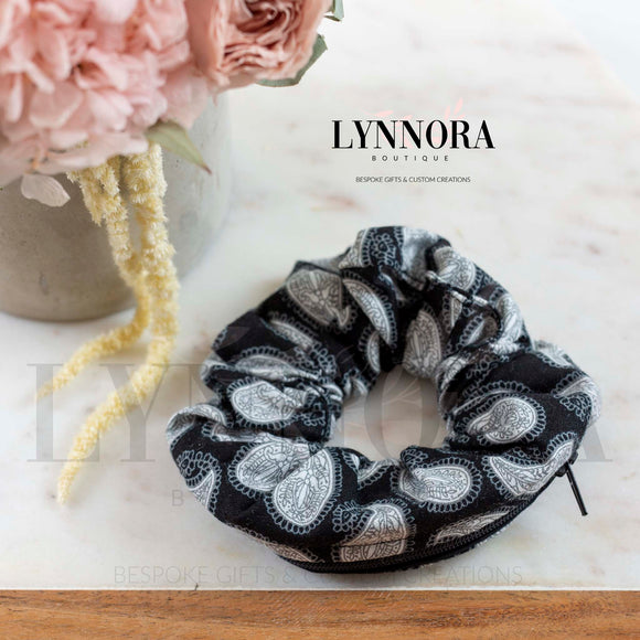 Black Print Pocket Scrunchies