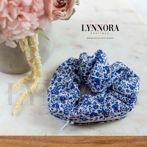 Blue Floral Pocket Scrunchies