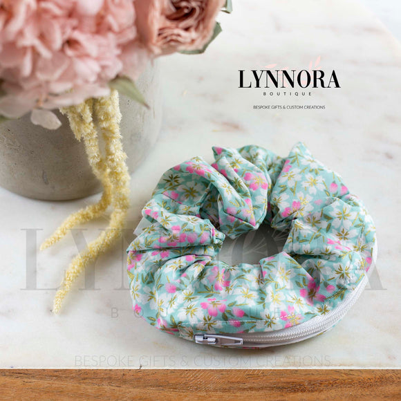 Mint Floral Pocket Scrunchies