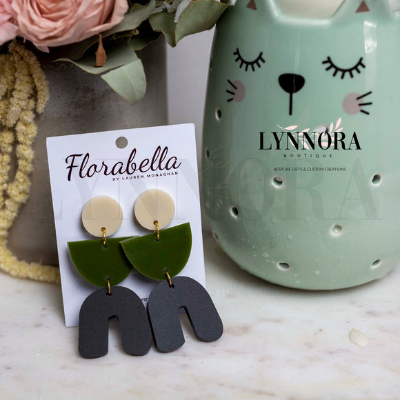 Statement Dangles - Porcelain - Olive green - Matte Black