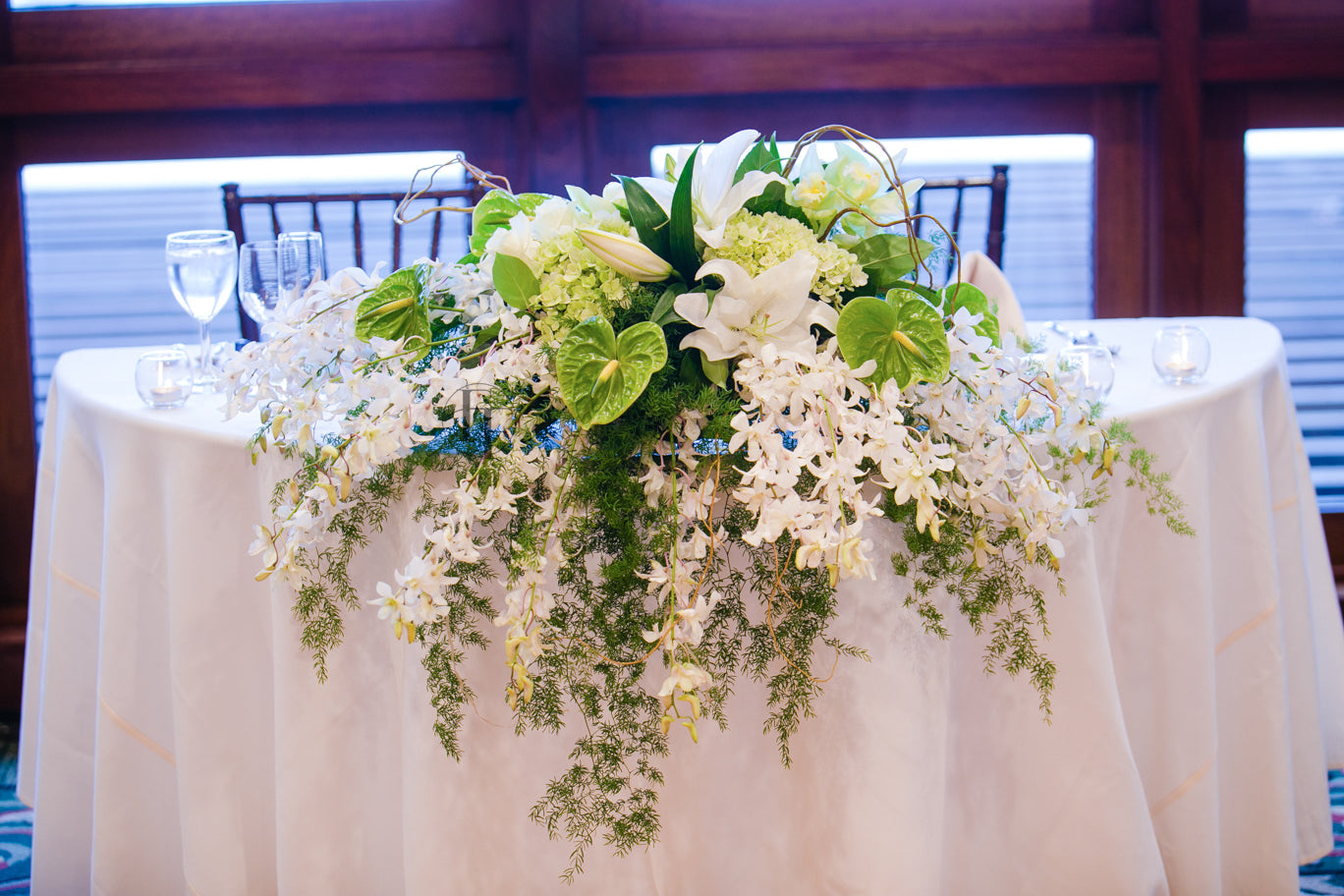 Sweetheart table cascading centerpiece