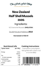 Frozen Half-Shell New Zealand Mussels (350g)