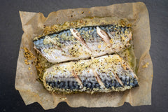 OVEN READY MACKEREL WITH LEMON + CRACKED BLACK PEPPER