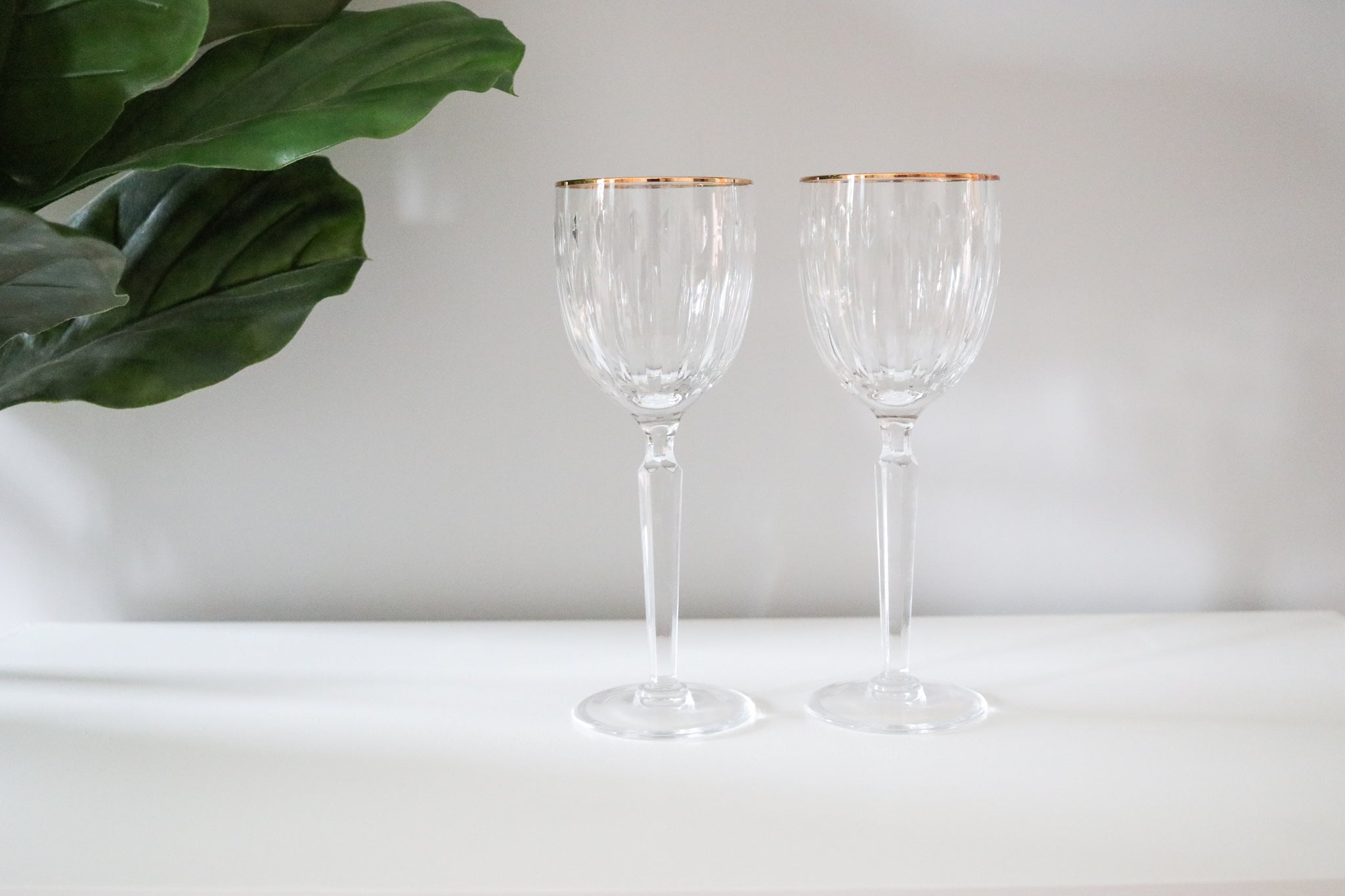 Gold-Rimmed Crystal Wine Glasses
