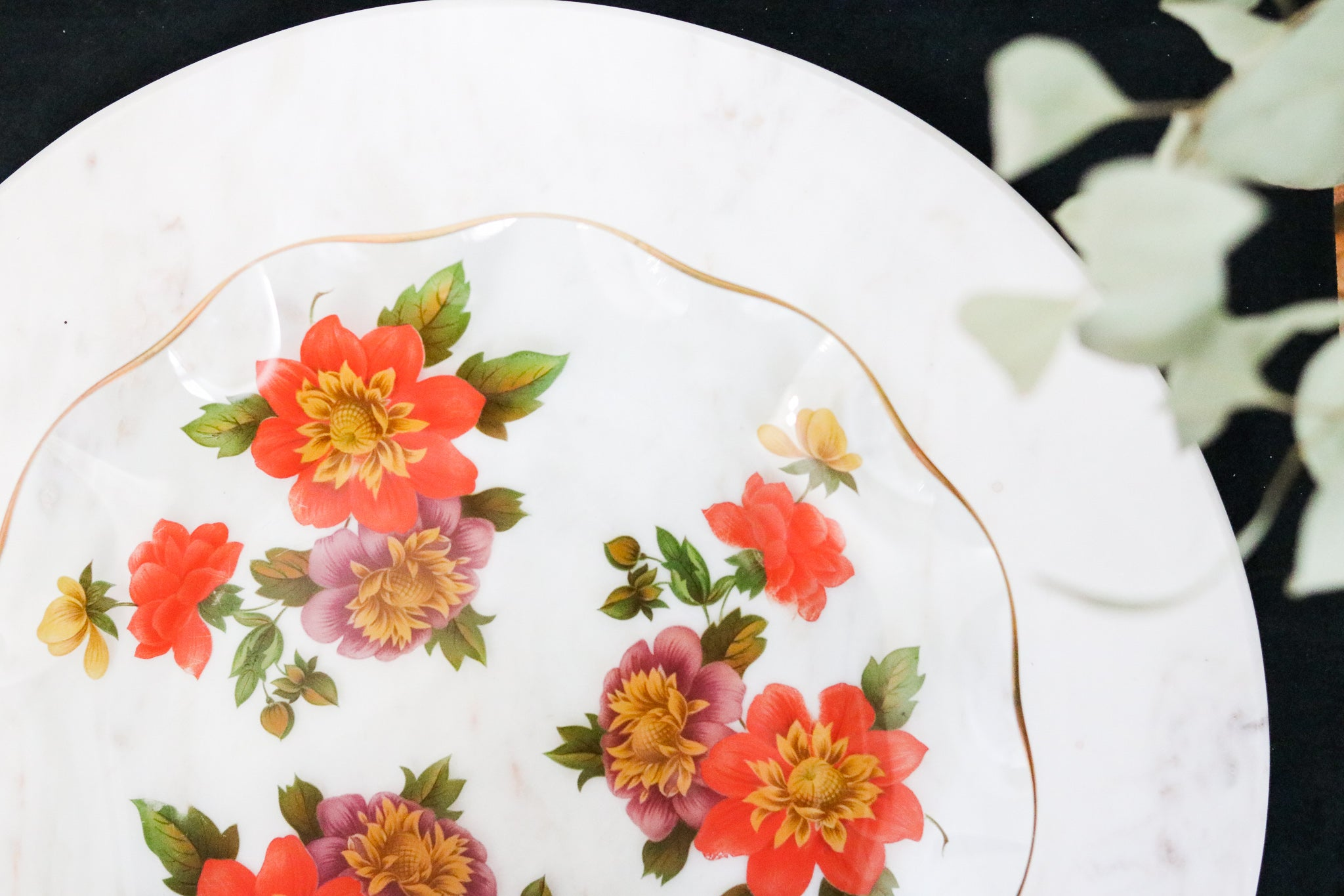 Gold-Rimmed Floral Glass Plate