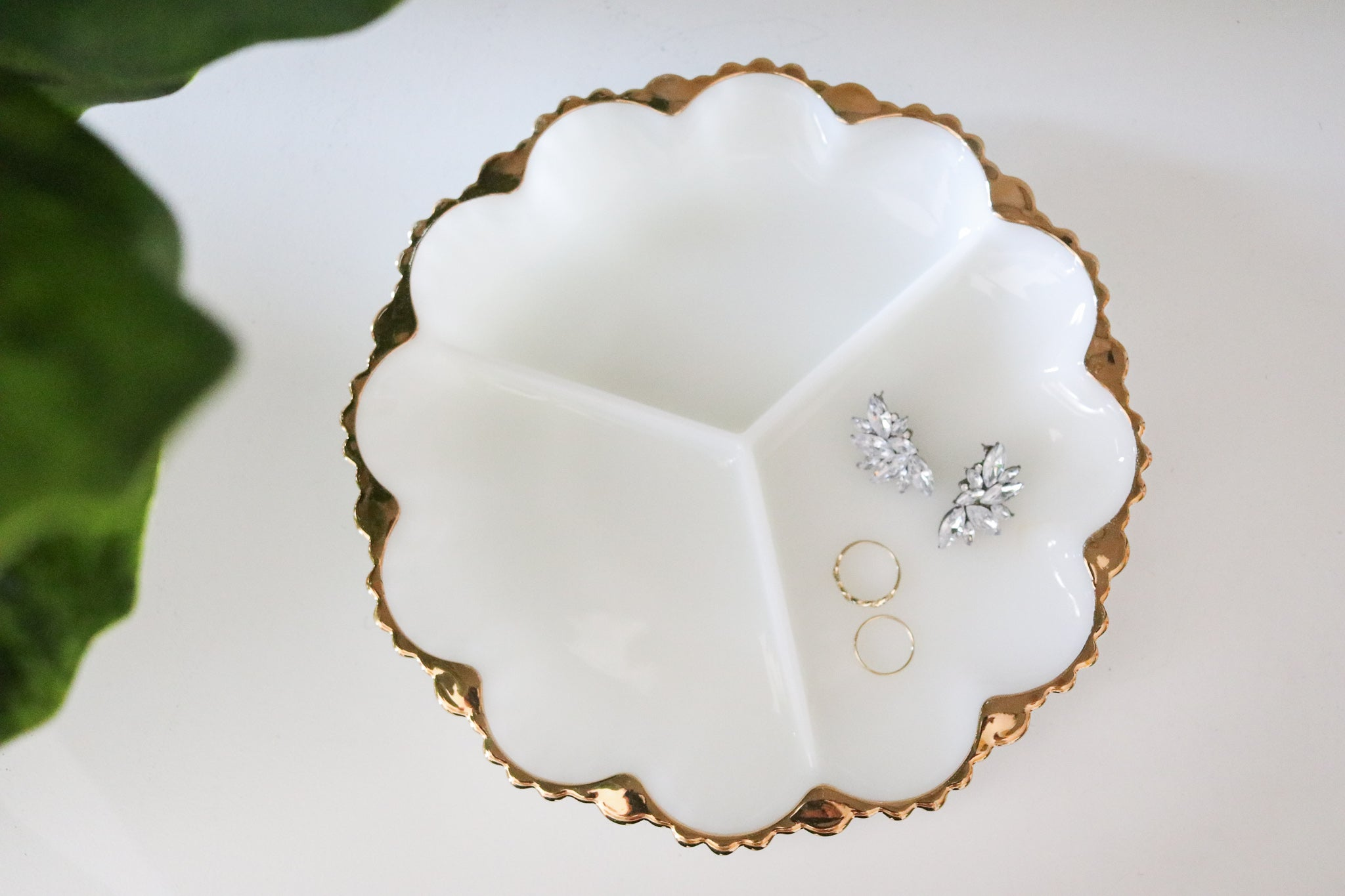 Milk Glass Jewelry Dish