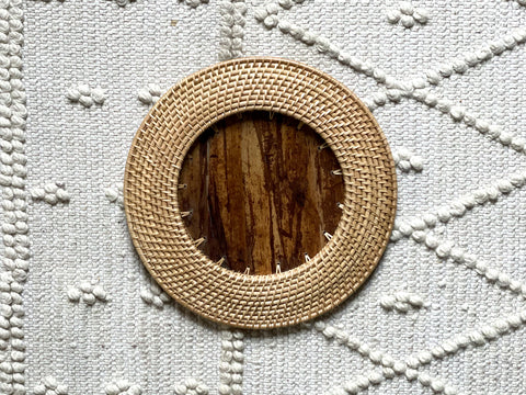 Wicker + Wood Charger/Basket (1pc)