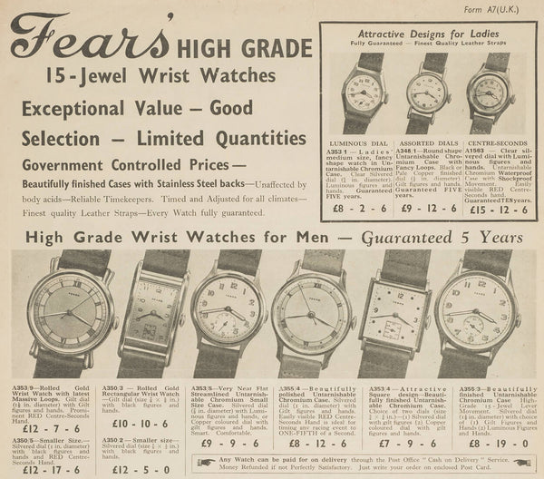 Fears Watches - British Watches - The 1946 'Centenary watch collection'