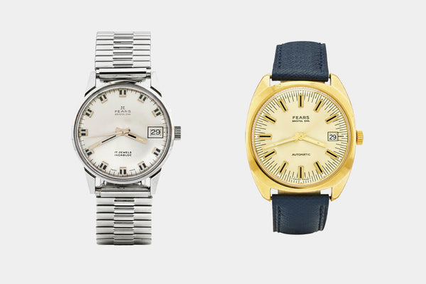 Fears Watches - British Watches - Post-war Fears, circa 1966 (left) and circa 1970 (right)