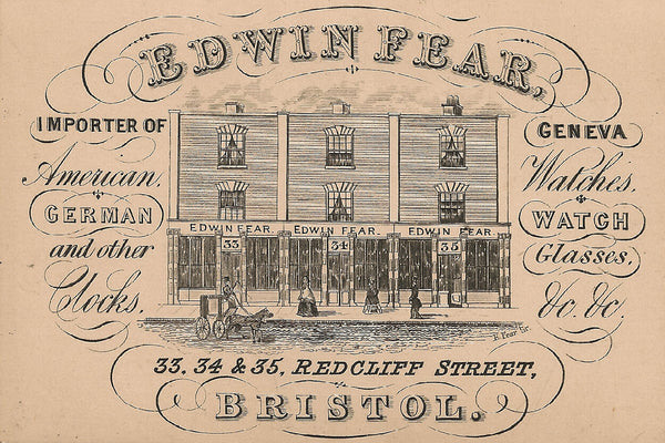 Fears British Watches - First Fears business card for Edwin Fear, circa 1846