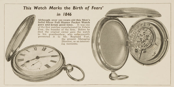 Fears British Watches - First Fears watch made by Edwin Fear in 1846 in Bristol