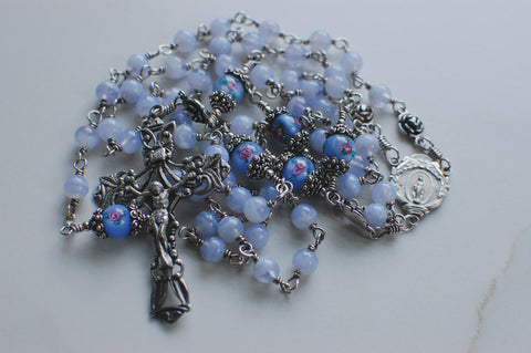 blue lace agate, sterling silver, heirloom quality unbreakable rosary