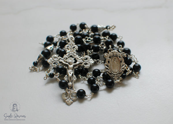 heirloom-quality, unbreakable sterling silver lapis lazuli rosary