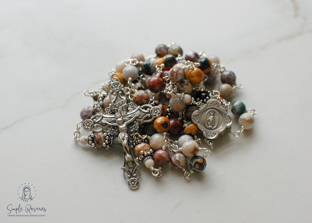 heirloom-quality, unbreakable sterling silver wire wrapped wooden agate rosary