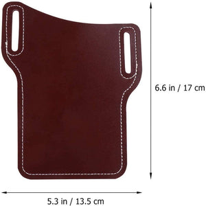 EDC Belt Sheath Pouch Mobile Phone Holster Men Handmade PU Leather Waist Dark Brown