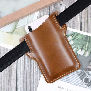 EDC Belt Sheath Pouch Mobile Phone Holster Men Handmade PU Leather Waist Light Brown