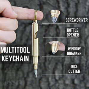 Bullet Keychain Multitool / Bottle Opener / Knife / Screwdriver - Made by Solid Brass