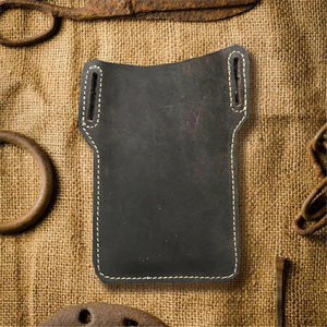 EDC Leather Belt Sheath Pouch Mobile Phone Holster Men Handmade Waist Bag Dark Brown