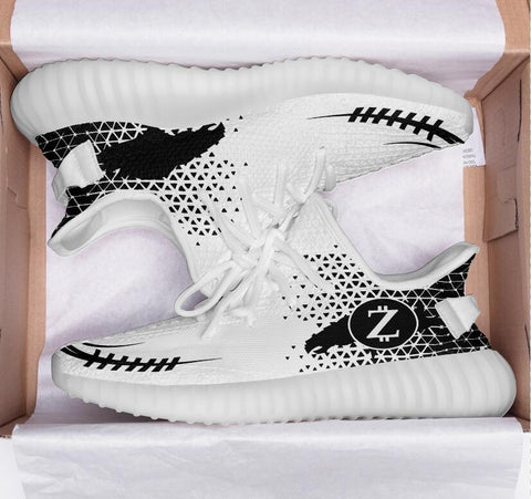 Z Code Sports Commissioned White 350 V2 Style Trainers w Logo