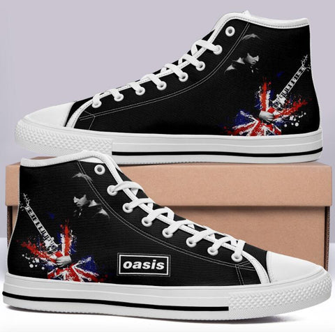 Oasis Black High Cut Style Commissioned Trainers w Union Jack Guitar