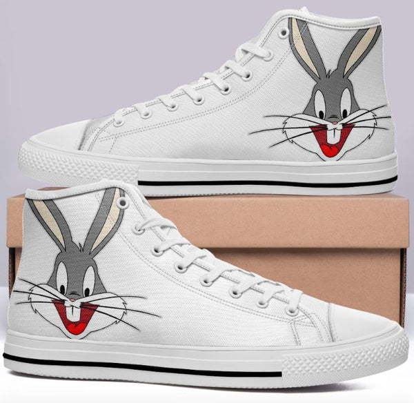 Bugs Bunny High Cut Style White Cartoon Trainers