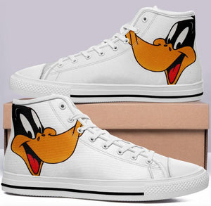 Daffy Duck High Cut Style White Cartoon Trainers