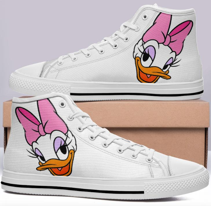 Daisy Duck High Cut Style White Cartoon Trainers