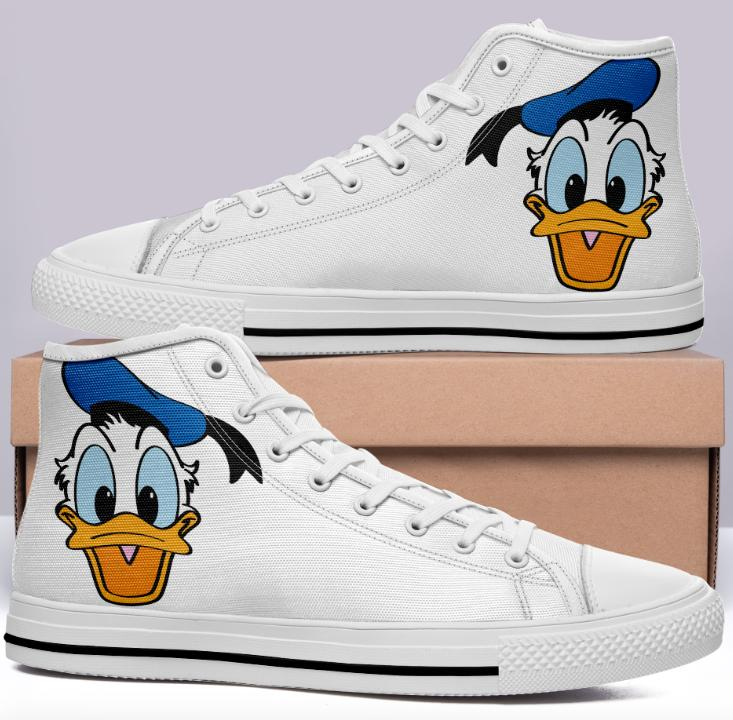 Donald Duck High Cut Style White Cartoon Trainers