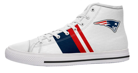 New England Patriots White High Cut Style NFL Trainers