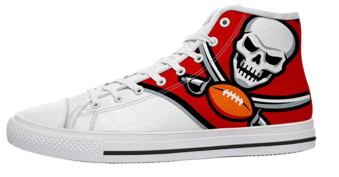 Tampa Bay Buccaneers White High Cut Style NFL Trainers