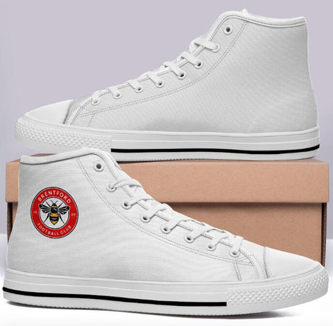 Brentford FC Home Version High Cut Style Commissioned White Trainers