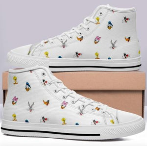 Looney Tunes High Cut Style White Cartoon Trainers
