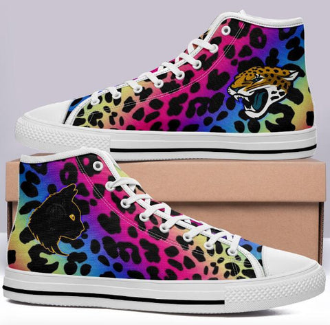 Neon Leopard Print High Cut Style Commissioned Trainers w Black Cat & Jaguar