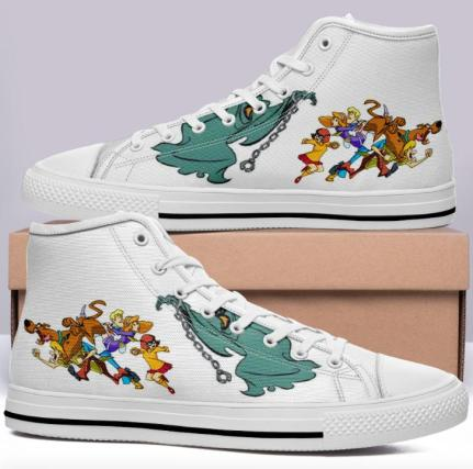 Scooby Doo High Cut Style White Cartoon Trainers