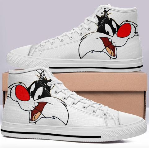 Sylvester The Cat High Cut Style White Cartoon Trainers