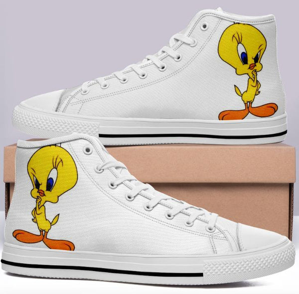 Tweety Bird High Cut Style White Cartoon Trainers
