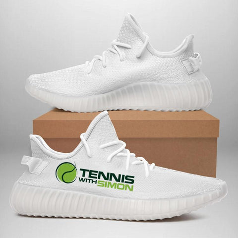 Tennis With Simon 350 V2 Style Commissioned White Trainers
