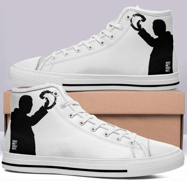 "Oasis White High Cut Style Commissioned Trainers ""Why Me? Why? Not."""